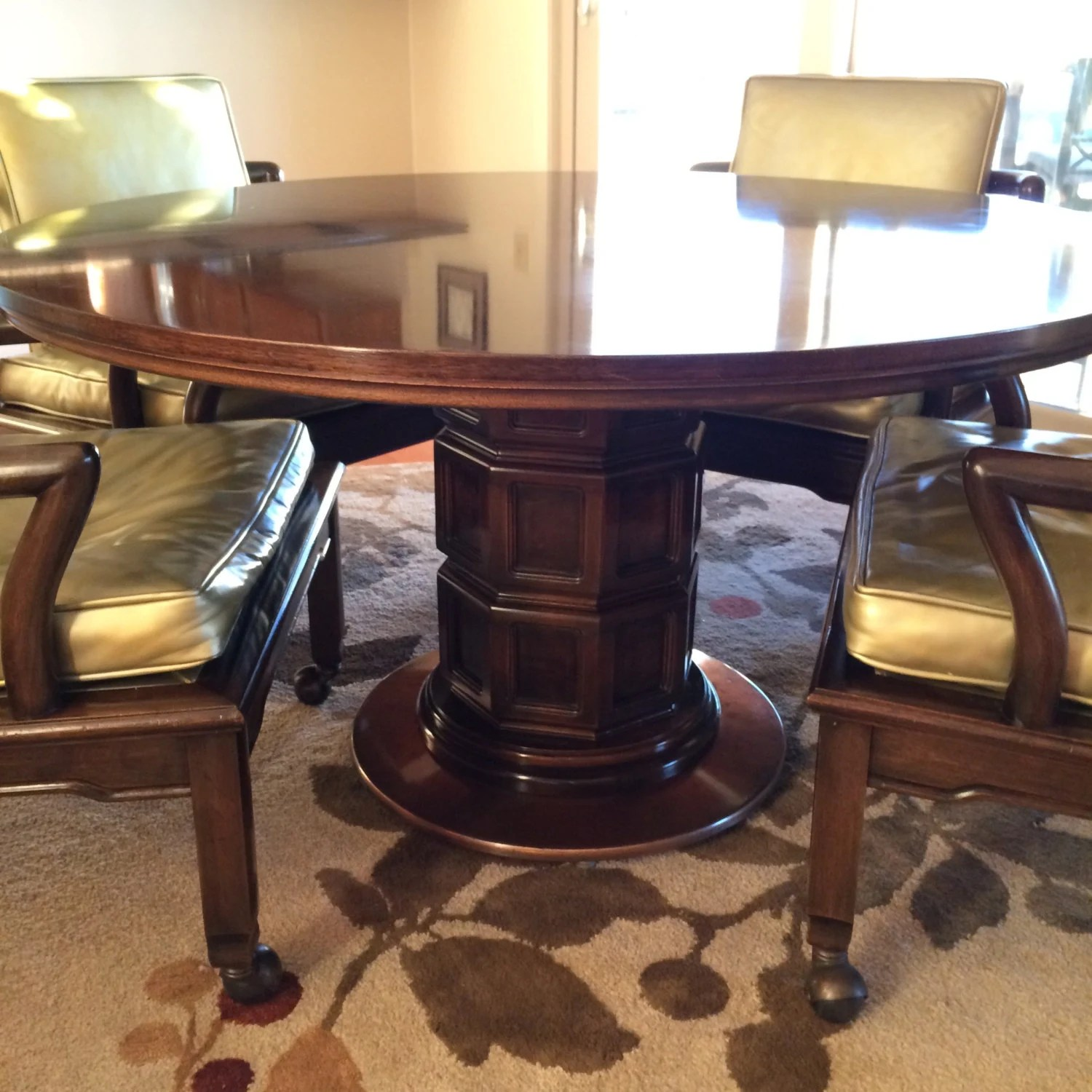 club chairs and table leather of bath ibsen widdicomb copper pedestal 4