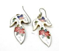 Vintage White Cloisonne Dangle Earrings by TreasureTrovebyTish
