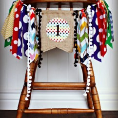 Toddler Chair With Name White Linen Brown Bear Birthday High Highchair Banner Party Photo