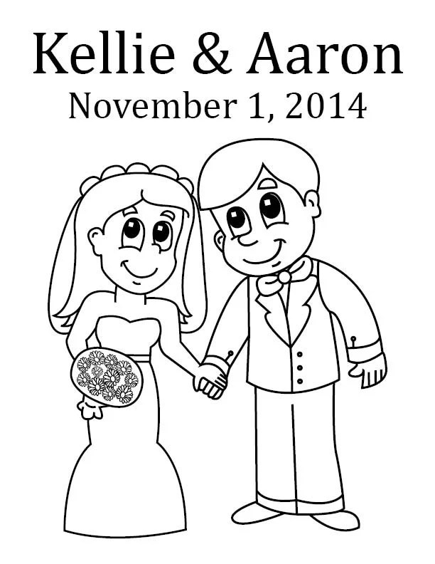 Bride and Groom Custom Coloring Page