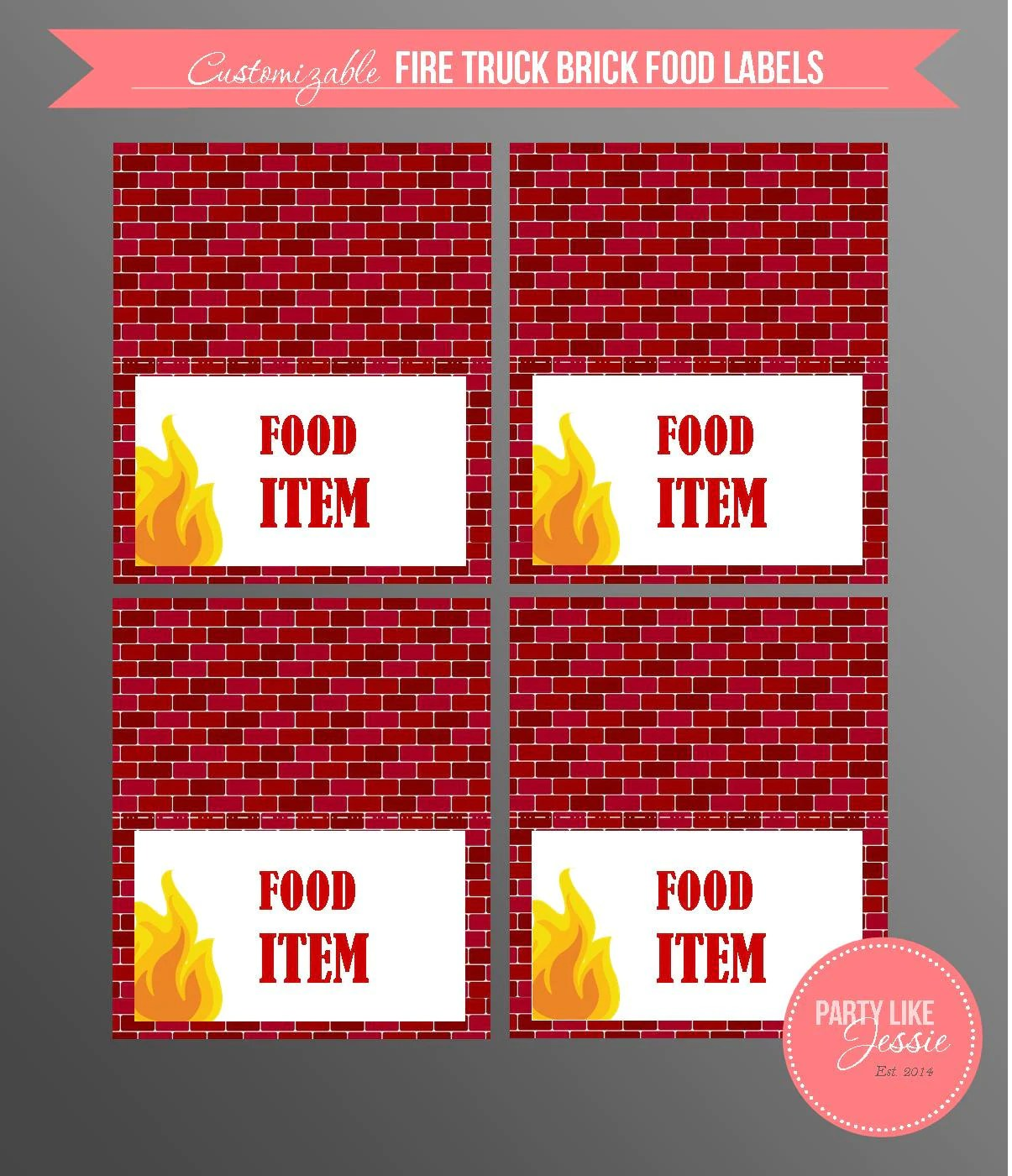 Printable Fire Truck Brick Food Labels Customizable
