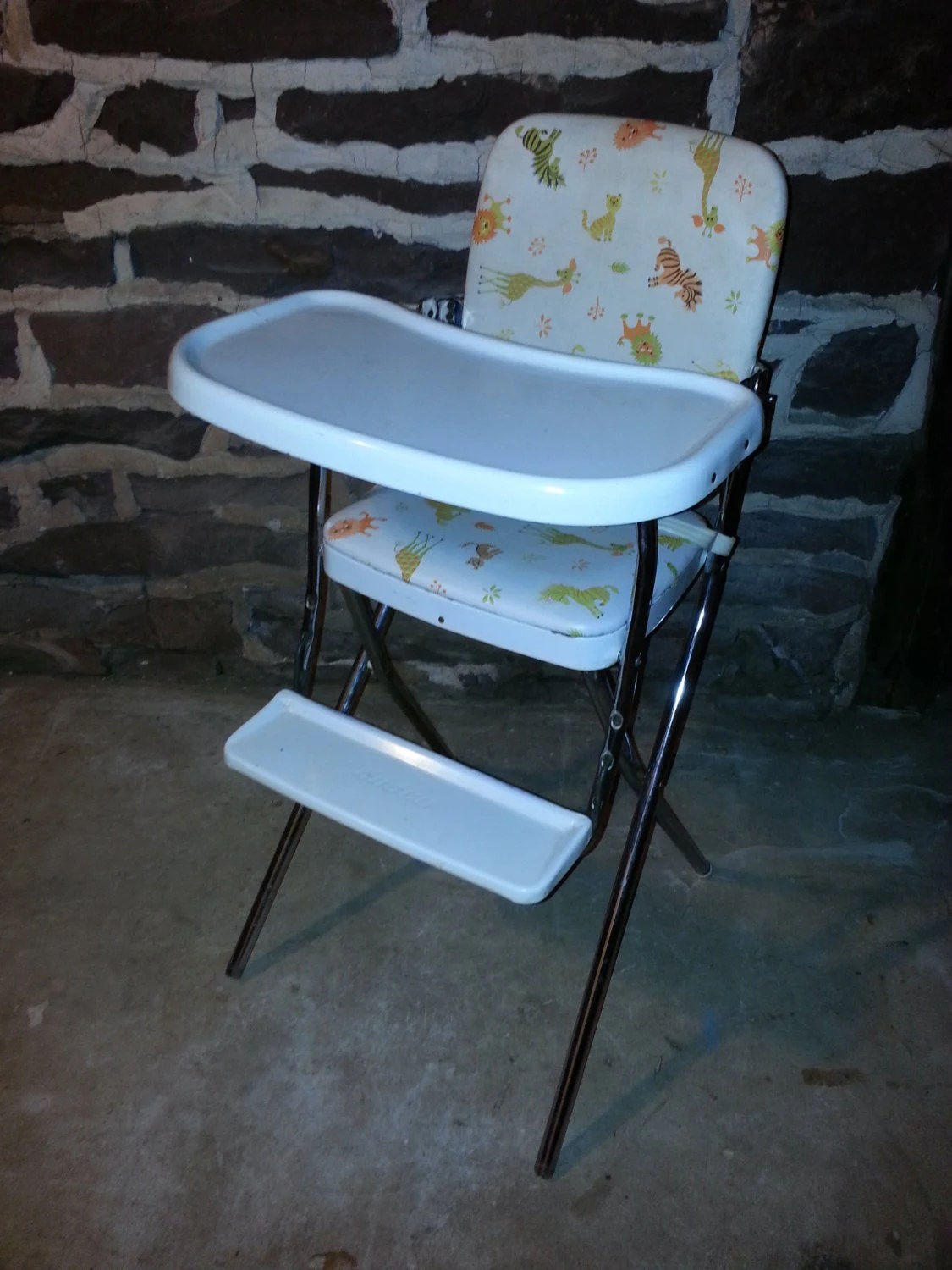 buy baby high chairs office chair expensive vintage 1960s 60s cosco animal print vinyl and metal folding