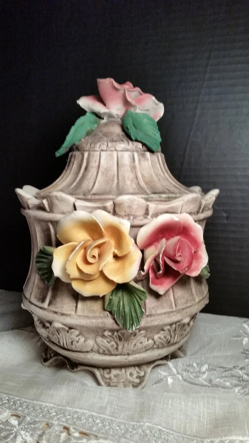 Capodimonte Footed Rose Jar Vintage Capodimonte Canister Made