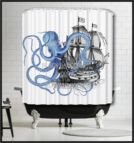 Blue Sailing Ship Shower Curtain Tall Ship Shower Curtain