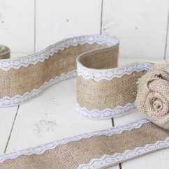 Burlap Chair Sashes Booster Age 3 Yards And White Lace Ribbon Sash By