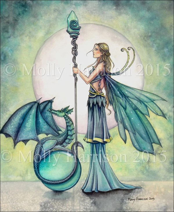 Aquamarine Dragon Fairy And Fantasy Art Watercolor