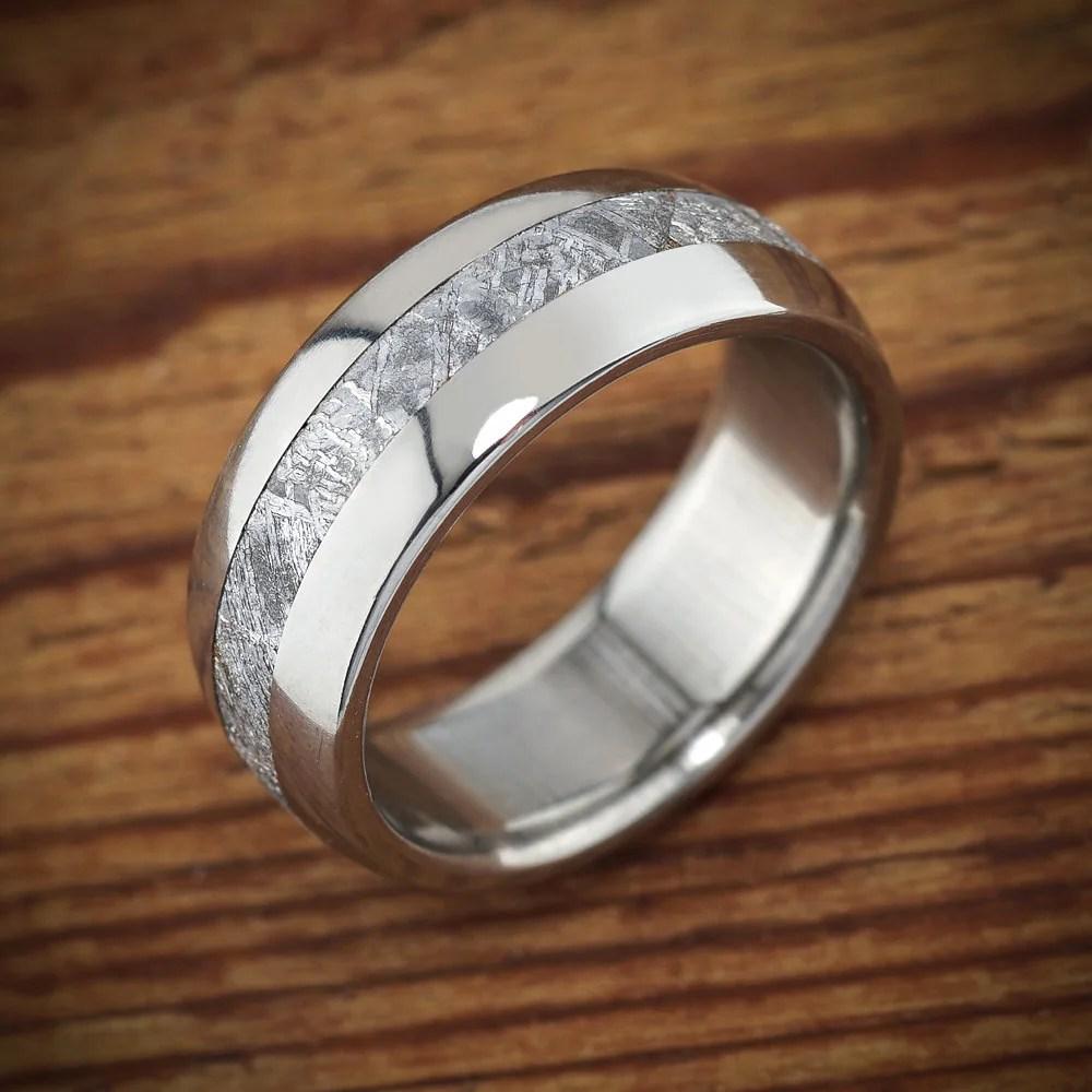 Meteorite Titanium Mens Wedding Band Polished