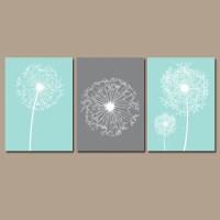 DANDELION Wall Art CANVAS or Prints Flower Aqua Gray Custom
