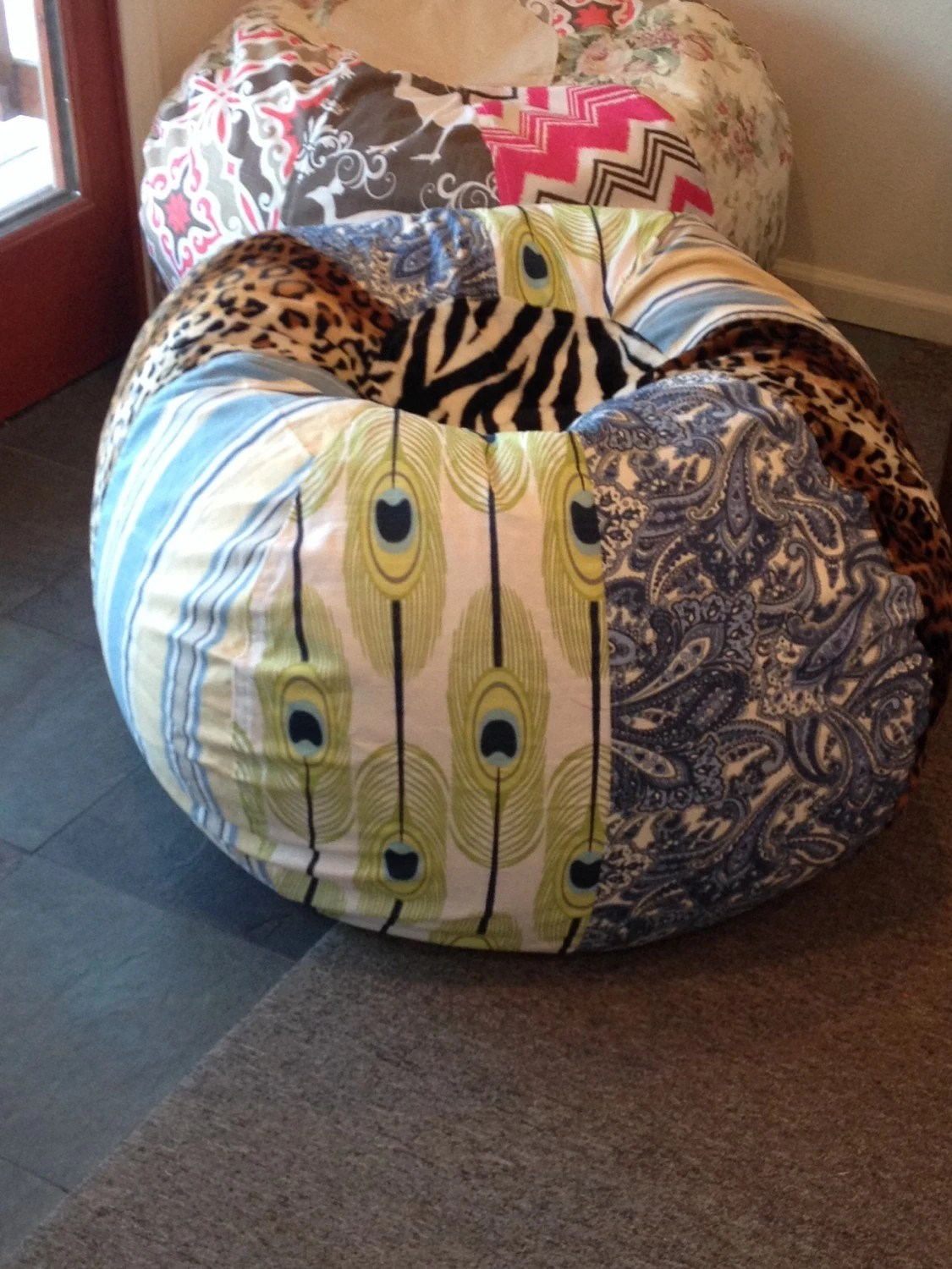 cheetah print bean bag chair hello kitty table and set multi boho with leopard peacock feather by