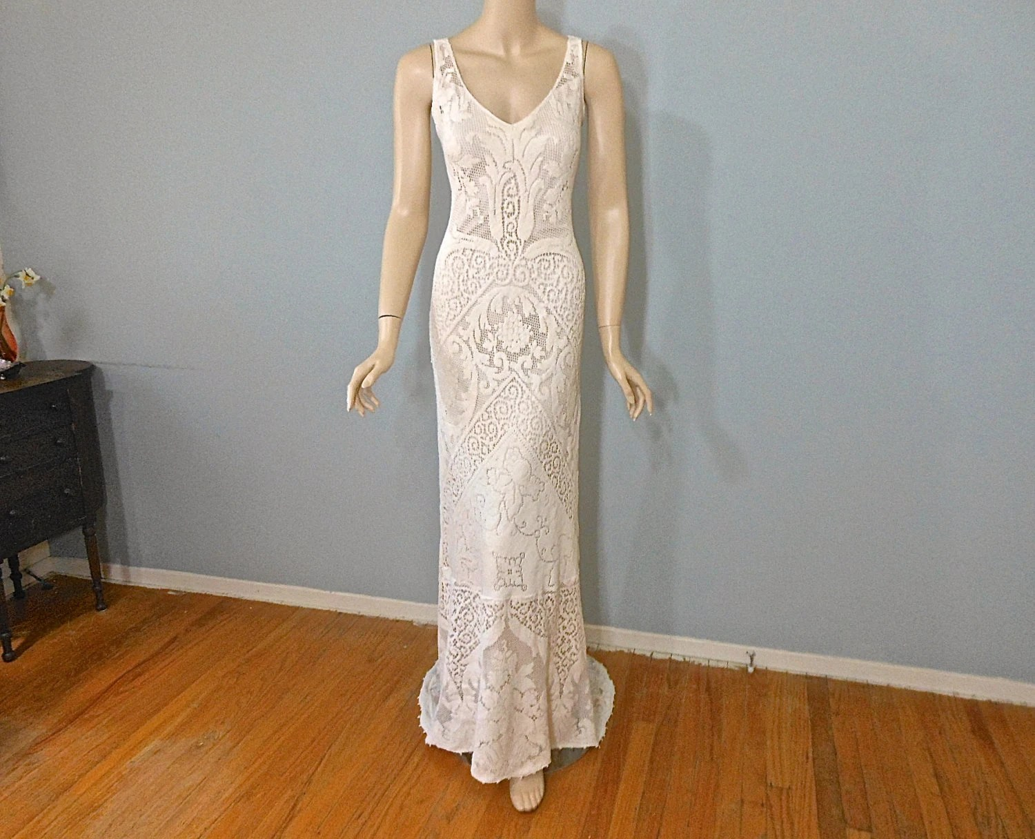 Simple Wedding Dress BOHEMIAN Wedding Dress LACE Wedding Dress