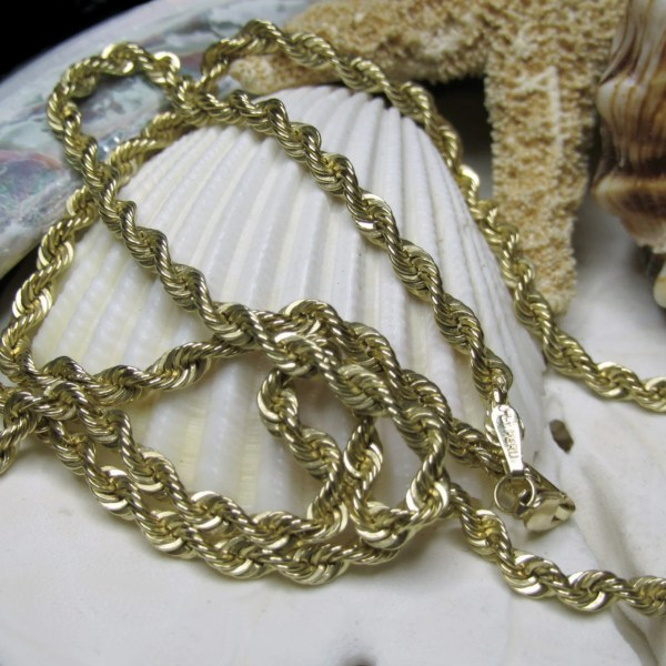 10k Solid Yellow Gold Rope Chain 20 2.36 Grams