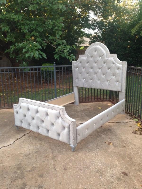 Tufted Bed Upholstered Velvet King Queen Full Twin Rhinestone