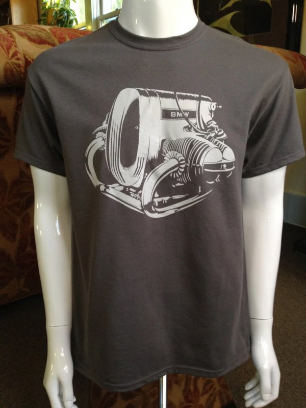 Bmw Airhead Motorcycle Engine Shirt Grey With Ink
