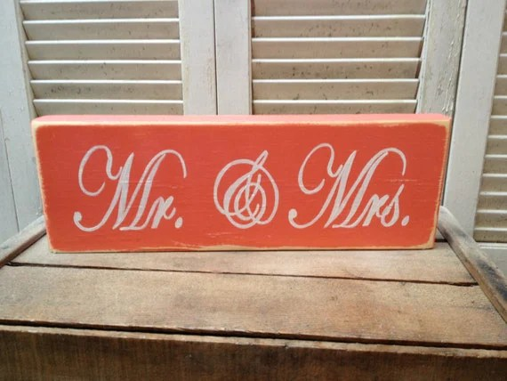 Distressed Coral And White Mr. And Mrs. Wedding Sign Wooden