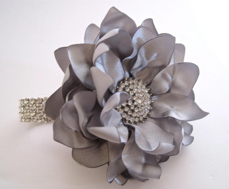 Wrist Corsage Grey Silver Satin Flower Rhinestone Bracelet