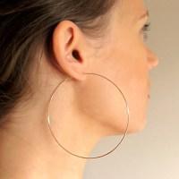 Rose Gold Filled Hoop Earrings / Large 3 inch Hoops