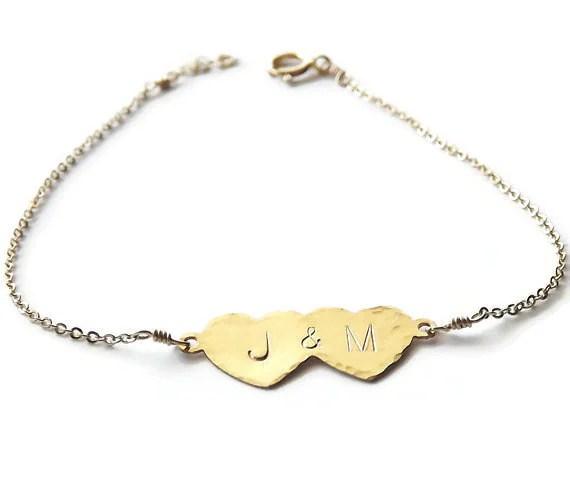 Gold Double Heart Bracelet Personalized by BellatrinaJewelry