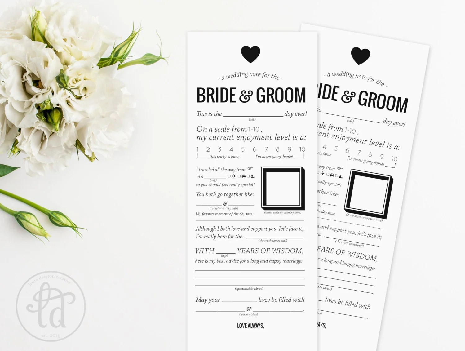 Wedding Mad Libs Printable Note For The By Lauradraytoncreative
