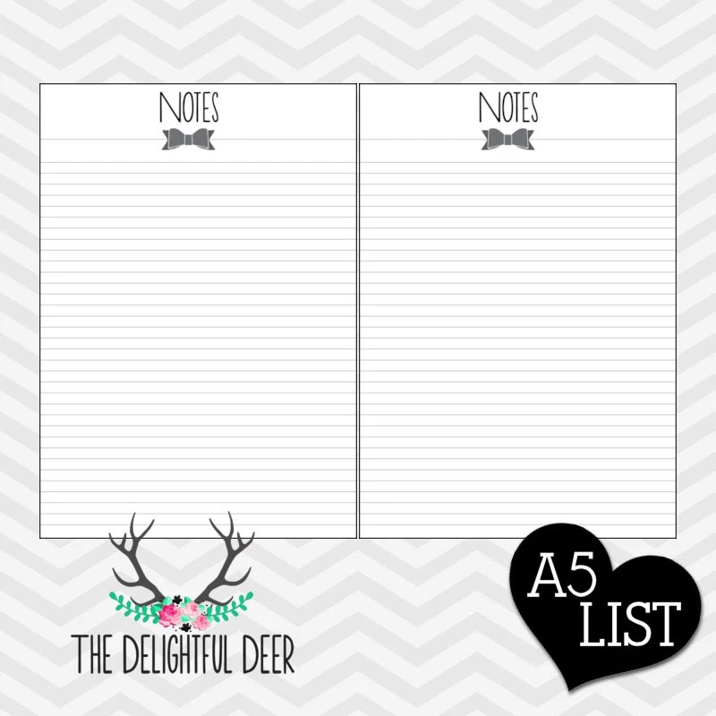 Items similar to Filofax Printable NOTES note paper A5