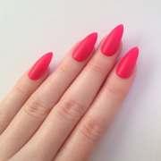 matte neon pink stiletto nails