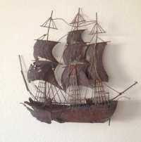 SHIP SCULPTURE METAL Pirate Ship Sail Boat Vintage Ship