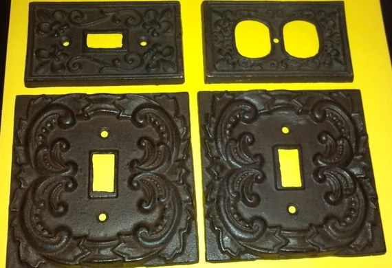 Fleur De Lis Cast Iron Switch Plate Covers 1 Plug 1 Light 2