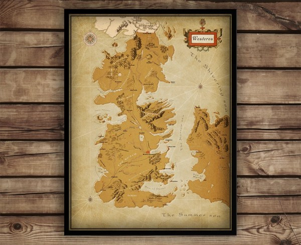 Game Of Thrones Map Poster - MVlC Map Of Game Thrones Poster on