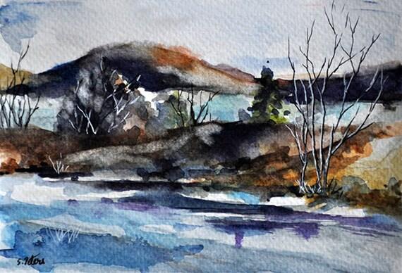 Items Similar To ORIGINAL Watercolor Winter Landscape