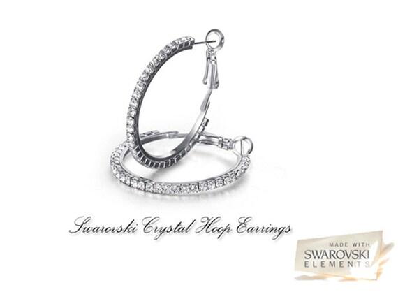 Swarovski elements crystal Hoop earrings Rhodium plated to