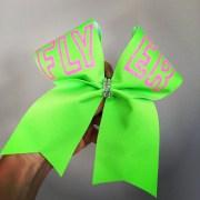 neon flyer cheer bow green