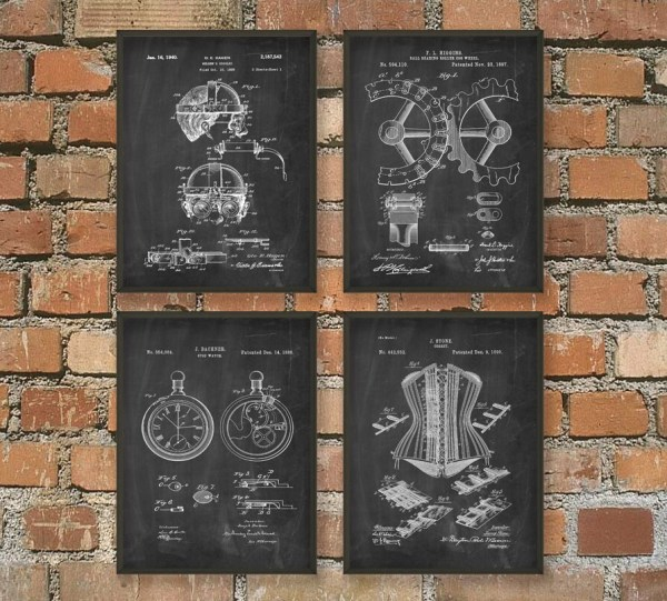 Steampunk Patent Wall Art Poster Set Quantumprints