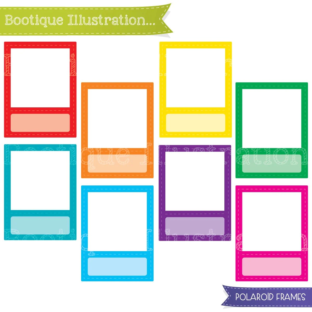 Polaroid Frames Clipart Set Rainbow Frames Clipart Digial