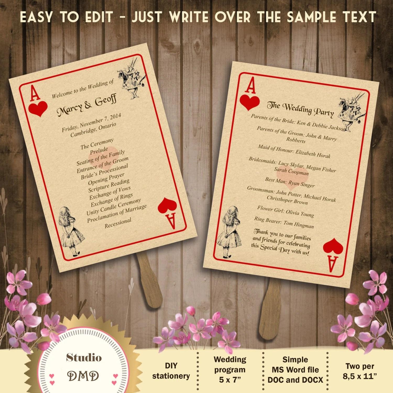 printable wedding program template  u2013 alice in wonderland  u2013 playing card  u2013 download instantly