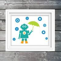Robot In The Rain wall art print printable art kids wall