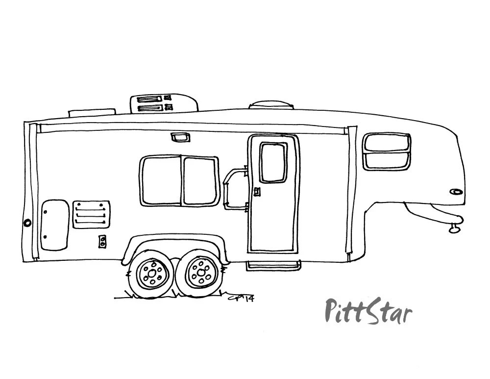 Coloring Pages Of 5th Wheel Camper Trailers Sketch