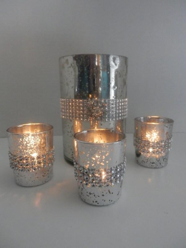 Wedding Centerpiece Mercury Glass Candle Holder Set