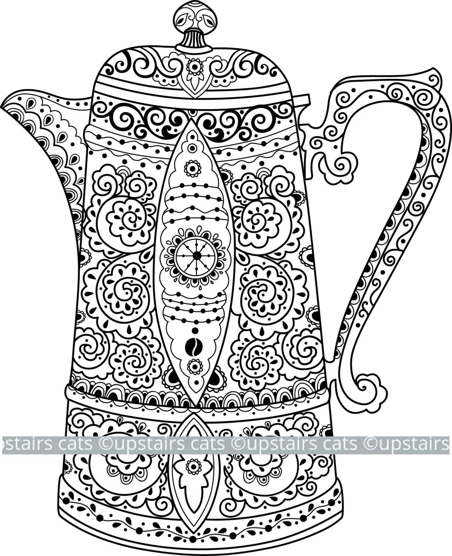 Vintage Teapot Clipart Antique Graphic Victorian Tea