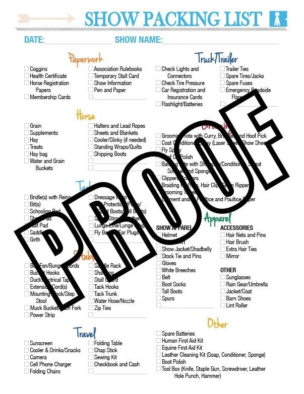Horse Show Packing List Printable