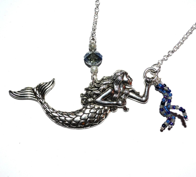 Mermaid Necklace Tattoo Style Big Mermaid Charm Sailor