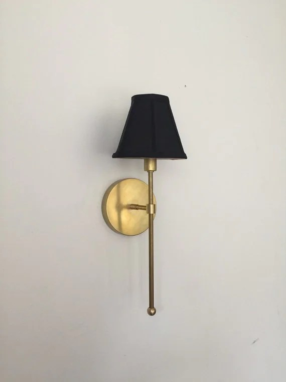 Vivianne - Gold Brass black white shade Industrial modern wall hanging sconce lamp light. Bathroom, bedroom, bedside lamp hallway lighting.
