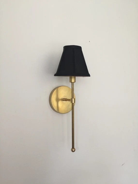 Vivianne - Gold Brass black white shade Industrial modern wall hanging sconce lamp light. Bathroom, bedroom, bedside lamp hallway lighting.