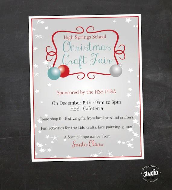 Christmas Craft Fair Flyer Event Custom Printable PTA