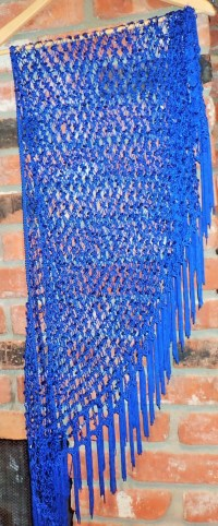Fun Electric Blue Sequin Tassel Fringe Shawl Scarf Wrap Cover