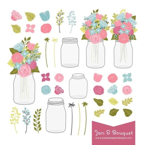 flower bouquet & mason jar digital