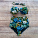 Bow Bandeau Bikini - Vintage Style High Waisted Pin-up Swimwear -  Beautiful Blue Floral Print - Unique & So Cute!