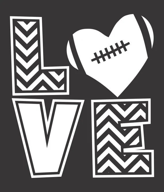 Download LOVE FOOTBALL Single Color Chevron Vector Files