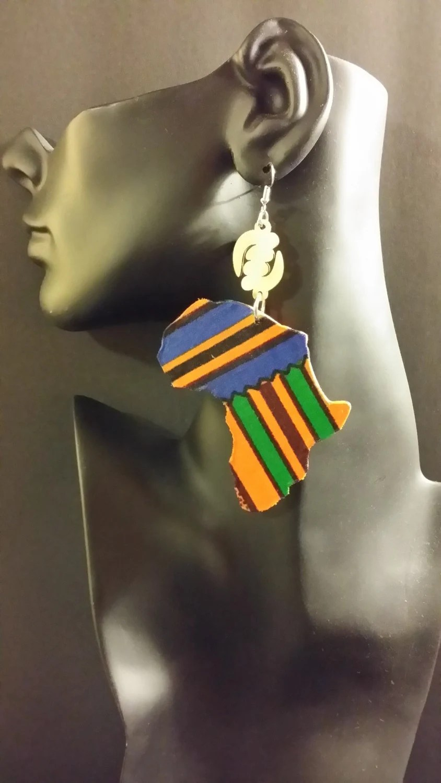 Mama Africa Shaped Fabric Wood Earrings Blue Kente w/ Gye