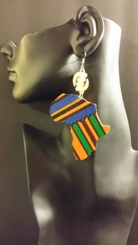 Mama Africa Shaped Fabric Wood Earrings Blue Kente w/ Gye