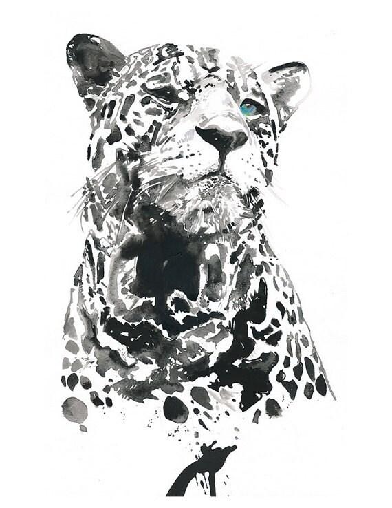 Leopard Watercolor Print Archival Prints of watercolour