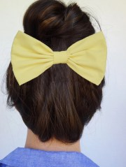 yellow hair bow clip women's